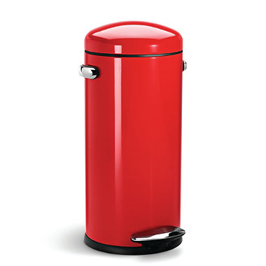 simplehuman 30 Litre Retro Red Steel Bin