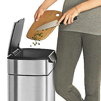 simplehuman Touch Bar Kitchen Waste Bin - Silver 30L alt image 5