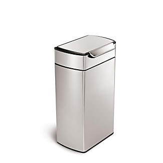 simplehuman Touch Bar Kitchen Waste Bin - Silver 40L