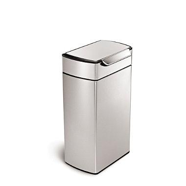 simplehuman Touch Bar Kitchen Waste Bin - Silver 40L