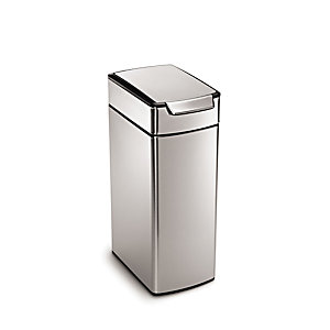 simplehuman Slim Touch Bar Kitchen Waste Bin - Silver 40L