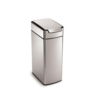 simplehuman Slim Touch Bar Kitchen Waste Bin  Silver 40L