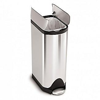 simplehuman Butterfly Lid Kitchen Waste Pedal Bin - Silver 30L