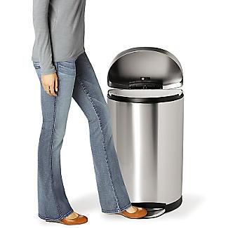 simplehuman Flatback Kitchen Waste Bin - Silver 40L alt image 5