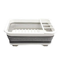Collapsible Foldaway Small Compact Dish Drainer Rack White
