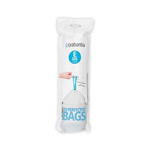 20 Brabantia® Size E Drawstring Bin Liners - White Bags 20L