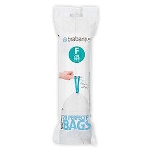 20 Brabantia® Size F Drawstring Slim Bin Liners - White Bags 20L