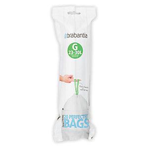 20 Brabantia® Size G Drawstring Bin Liners - White Bags 23-30L