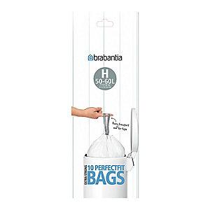 10 Brabantia® Size H Drawstring Bin Liners - White Bags 50-60L