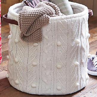 Aran Knit Storage Tote