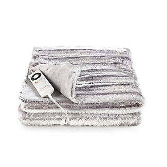 Silver Shimmer Faux Fur Heated Throw alt image 2