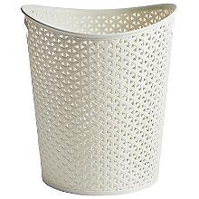 Curver Faux Rattan Waste Paper Basket - Cream 13L