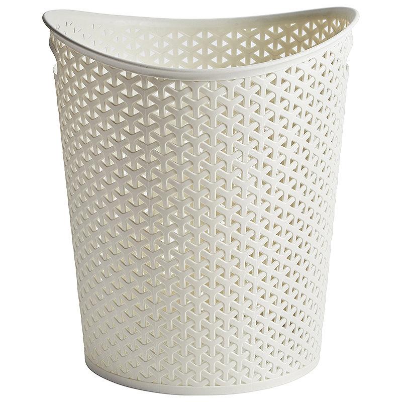 Curver Faux Rattan Waste Paper Basket - Cream