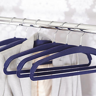 4 Blue Space Saving Non Slip Jacket Clothes Hangers
