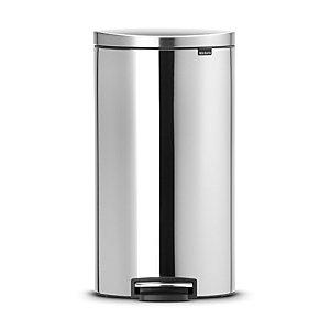 Brabantia® Flatback Kitchen Waste Pedal Bin - Silver 30L