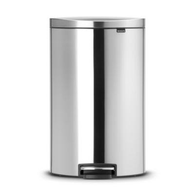 Brabantia&174 Flatback Kitchen Waste Pedal Bin  Silver 40L