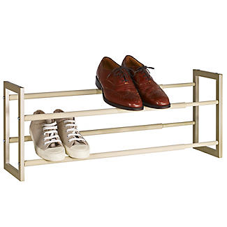 Extending and Stackable Steel Shoe Rack Champagne Cream alt image 1