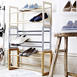 Extending and Stackable Steel Shoe Rack Champagne Cream alt image 3