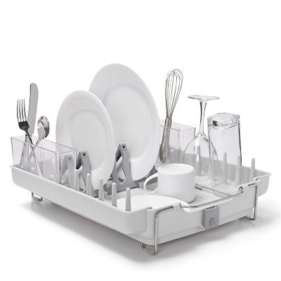 OXO Good Grips Foldaway Dish Drainer Rack  Light Grey