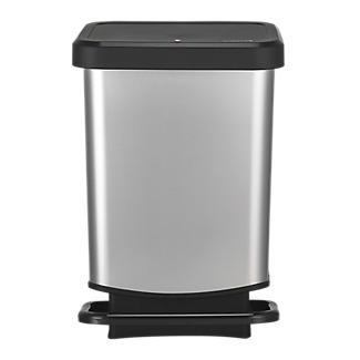 Rotho Küchenabfalleimer mit Tretmechanismus - Metallic Effekt 20 L