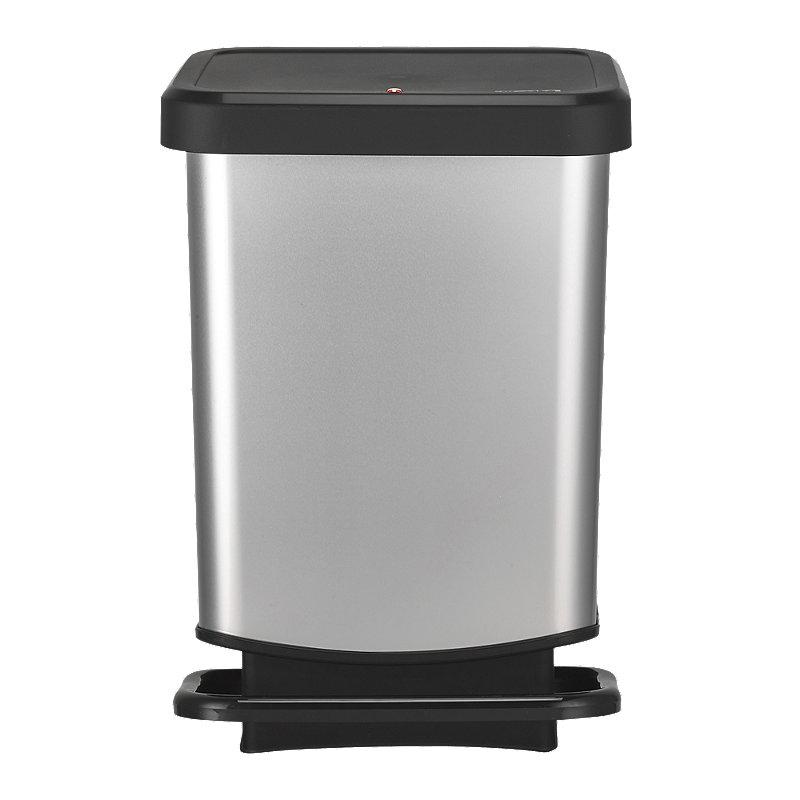 Rotho Kitchen Waste Pedal Bin - Metallic Effect