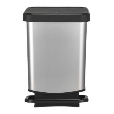 Rotho Kitchen Waste Pedal Bin  Metallic Effect 20L