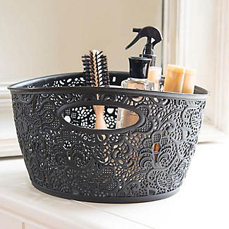 Lace-Effect Storage Tub Black