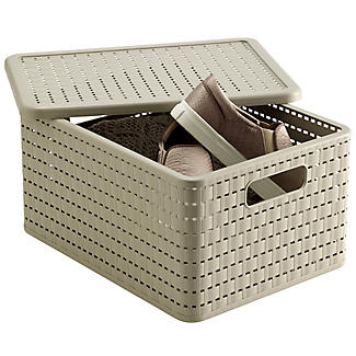 Lidded Lattice Effect Basket Large alt image 1