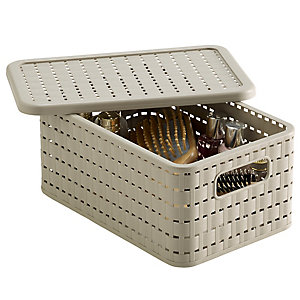 Lidded Lattice Effect Basket Small