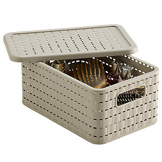 Lidded Lattice Effect Basket Small alt image 1
