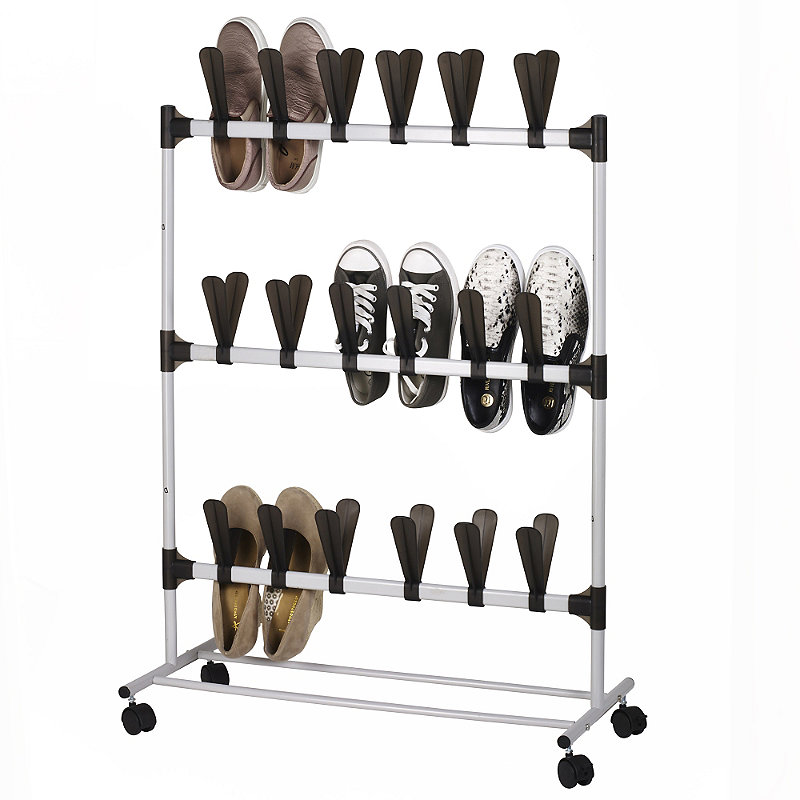 Pop-On Vertical Space Saving Shoe Rack - Holds
