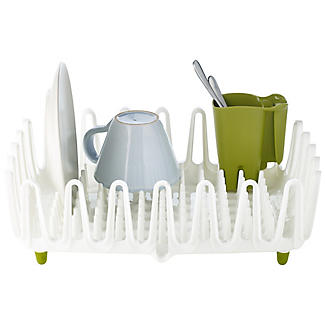 ILO Clam Shell Small Dish Drainer Rack White & Green alt image 1