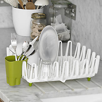 ILO Clam Shell Small Dish Drainer Rack White & Green alt image 2
