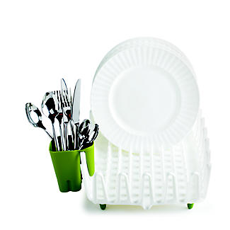 ILO Clam Shell Small Dish Drainer Rack White & Green alt image 3