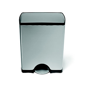 simplehuman Classic Kitchen Waste Pedal Bin - Silver 50L