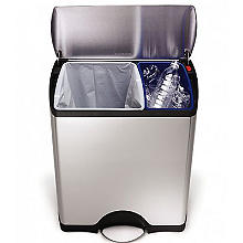 simplehuman Divided Recycle Kitchen Waste Pedal Bin - Silver 46L