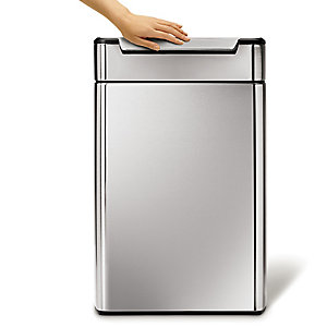 simplehuman Touch Bar Recycle Kitchen Waste Bin - Silver 48L