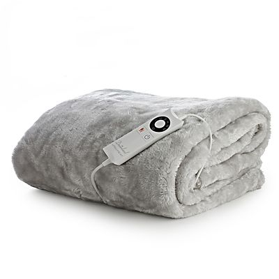 Faux Fur Electric Heated Throw Pearl Grey  120 x 160cm