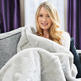 Faux Fur Electric Heated Throw Pearl Grey - 120 x 160cm alt image 4
