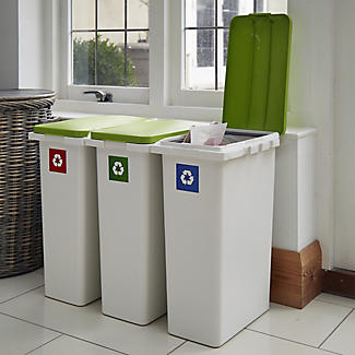 Lakeland Slimline Interlocking Recycle Kitchen Waste Bin - White 25L alt image 2