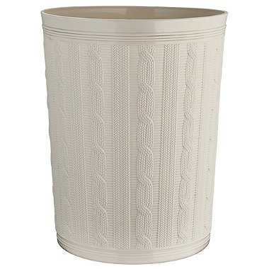 Faux Cable Knit Plastic Waste Paper Bin 10L
