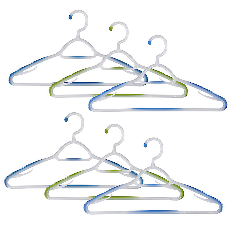 Soft Grip Non Slip Clothes Hangers Aqua 6