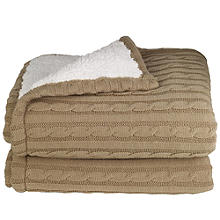 Super Soft Cosy Knit & Fleece Blanket Throw - 130 x 160cm