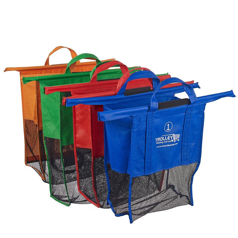 4 Reusable Supermarket Shopping Trolley Bags - Deep