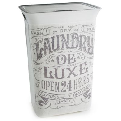 Nostalgic Print Lidded Plastic Laundry Basket 60l
