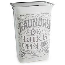 Wäschekorb mit Vintage Aufdruck und Deckel, 60 L