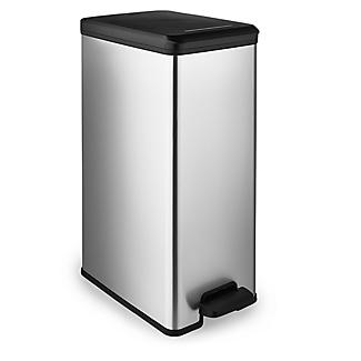 Curver Slimline Kitchen Waste Pedal Bin - Metallic Effect 40L