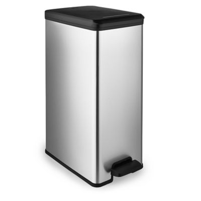 Curver Slimline Kitchen Waste Pedal Bin  Metallic Effect 40L