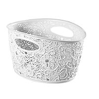 Lace-Effect Storage Tub White