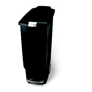 simplehuman® Plastic Slim Kitchen Waste Pedal Bin - Black 40L